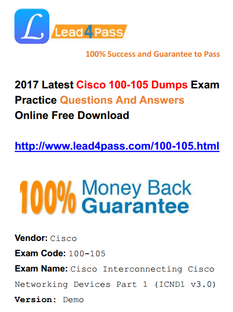 2018 New Version] Best Cisco ICND1 100-105 Dumps Exam Questions And